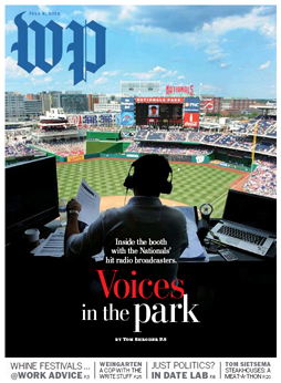 Washington Post Magazine cover featuring Nationals radio team Charlie Slowes and Dave Jageler