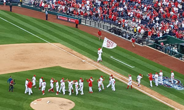 Washington Nationals celebrate an Opening Day victory