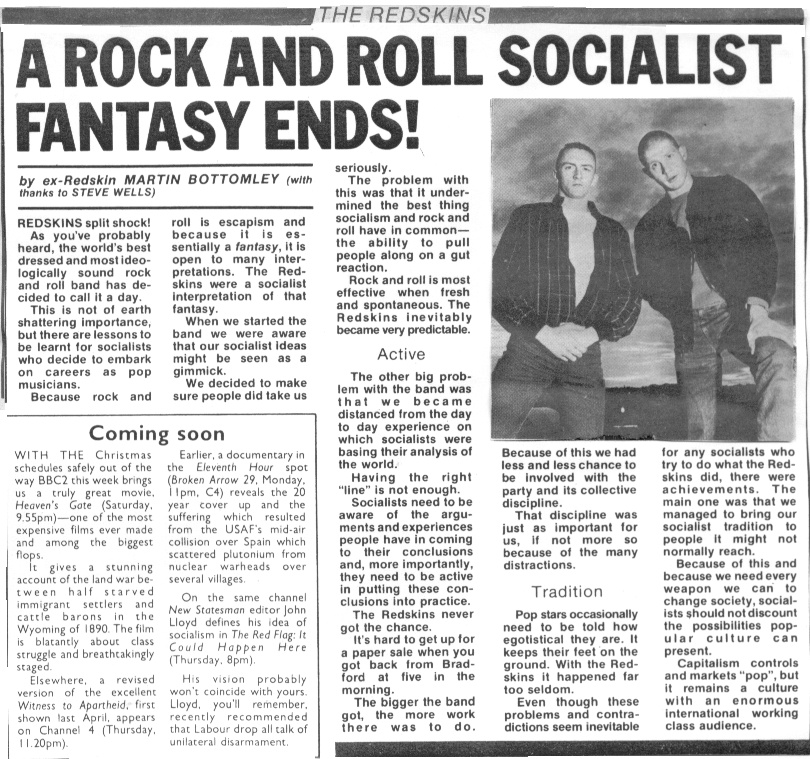 The Redskins, a 1980s English socialist rock band