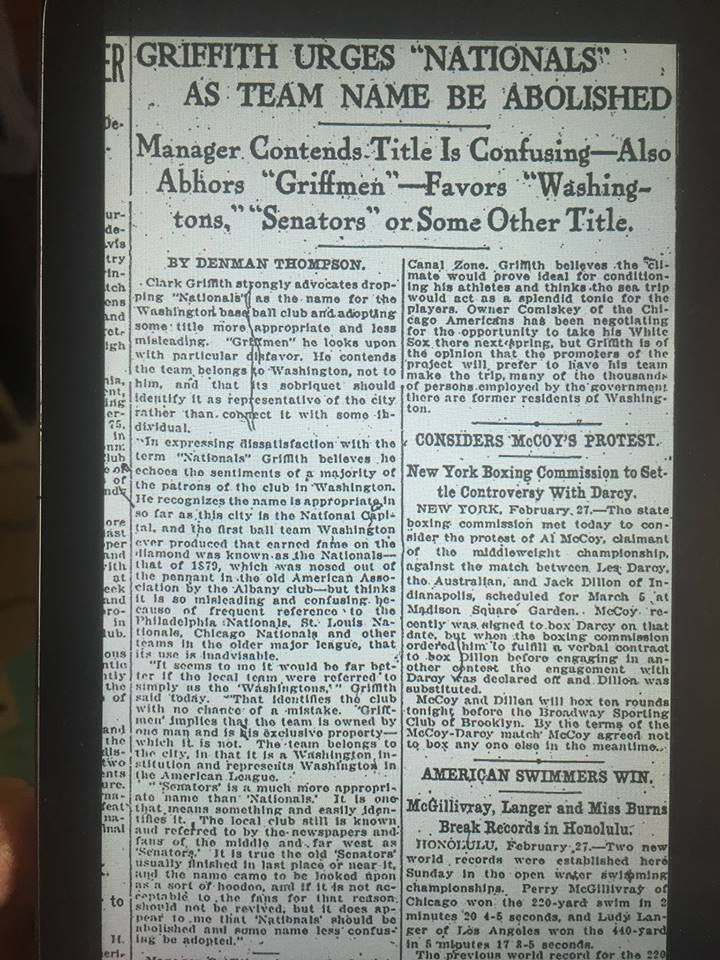"1917 newspaper clipping of Clark Griffith saying he wants to abolish the ""Nationals"" nickname for the Washington baseball team."