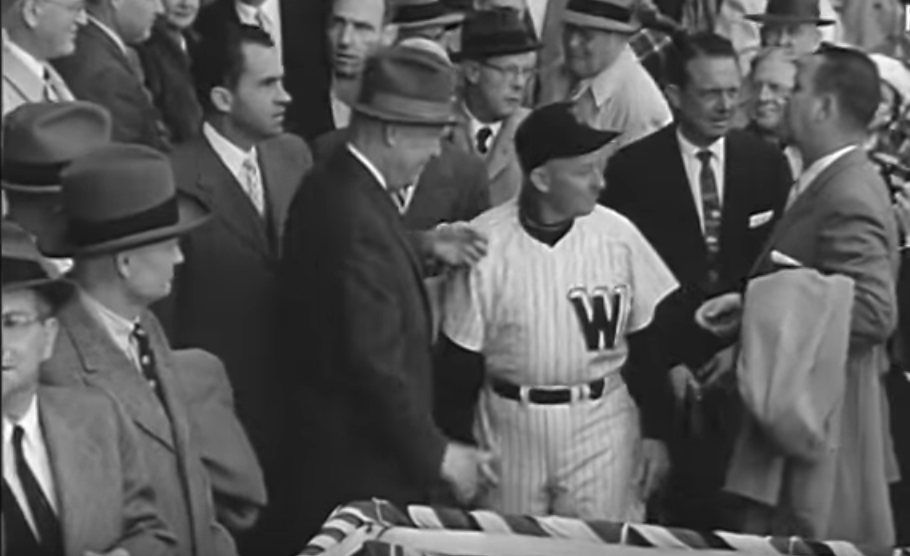 Opening Day 1957: President Eisenhower greets Washington manager Chuck Dressen while VP Richard Nixon looks on in Washington, D.C.