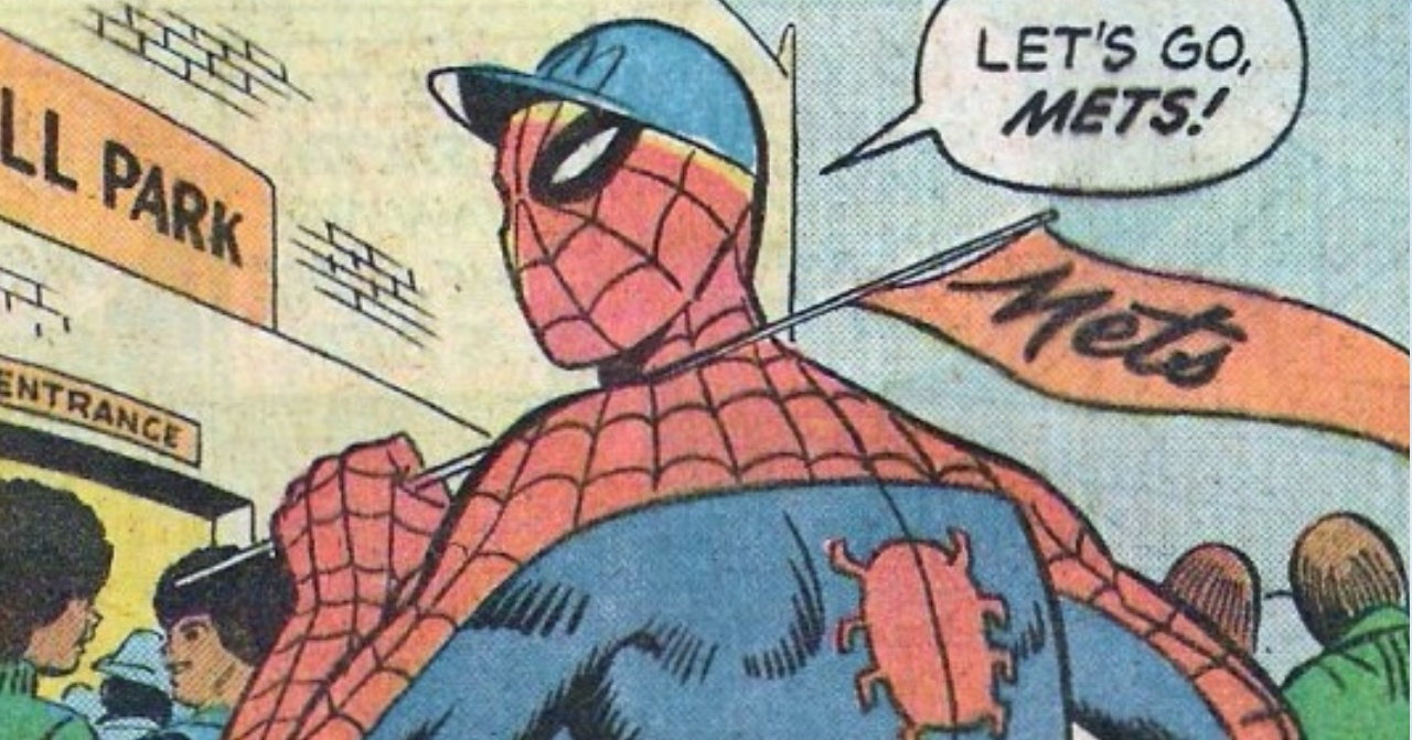 Spider-Man, not to be confused with Eric McErlain, attends a Mets game.