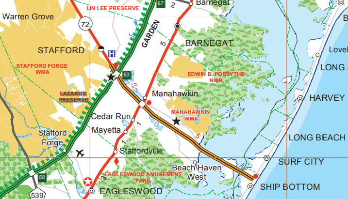 Section of New Jersey road map showing Dorland Henderson Causeway to Long Beach Island