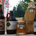 Virginia Oktoberfest beers on a patio, in the sunshine