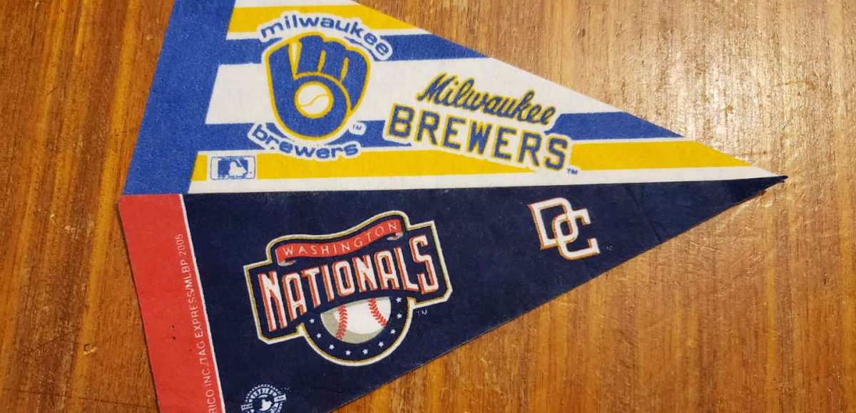 Incredible stock photo of Nationals and Brewers mini-pennants