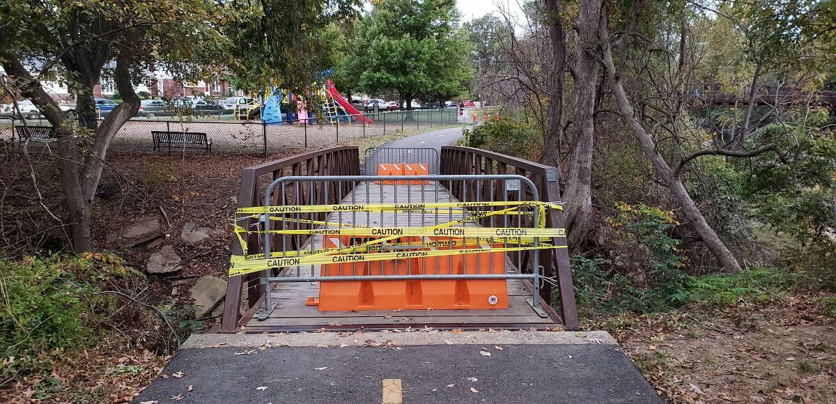 Holmes Run Trail near Duke Street in Alexandria, Va. is closed due to unstable bridge footings
