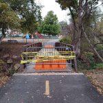 Holmes Run Trail near Duke Street in Alexandria, Va. is closed due to unstable bridge footings