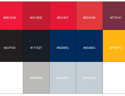DC sports teams color palette compiled by Mat Swatek and used with permission