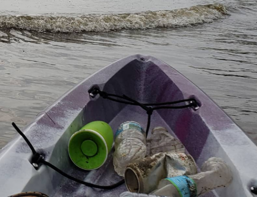 Litter being cleaned out of Four Mile Run in Alexandria, Va. by a kayaker