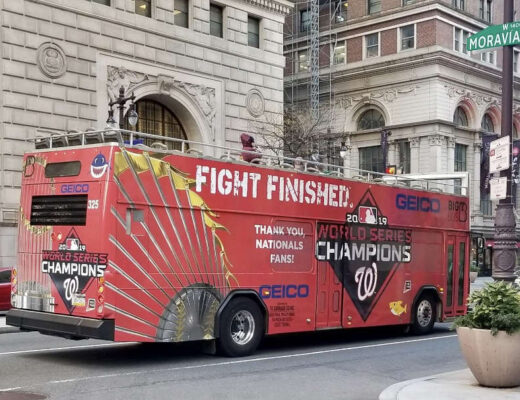 Washington Nationals World Series champion bus in Phiadelphia, November 2019. Photo courtesy of Dan McQuade
