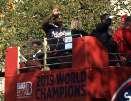 Nationals legend Howie Kendrick in the 2019 World Series parade in Washington, D.C. Photo by William F. Yurasko, all rights reserved.