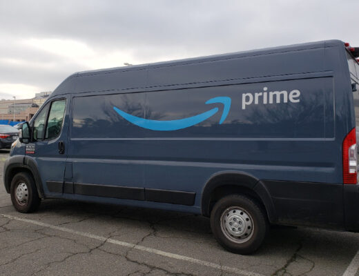 An Amazon Prime van parked in front of the former Landmark Mall in Alexandria, Va.