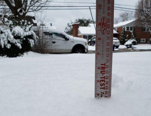 February 2, 2021 Snow fall total for Alexandria, Va.