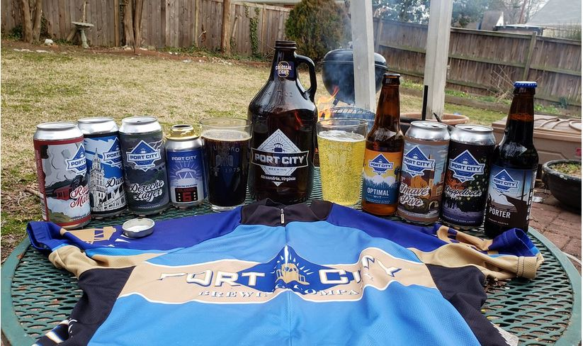 Port City Brewing Co. beers and bike jersey