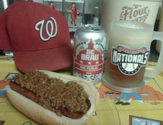 DC Brau, served in a frosty Washington Nationals mug with a chili half-smoke