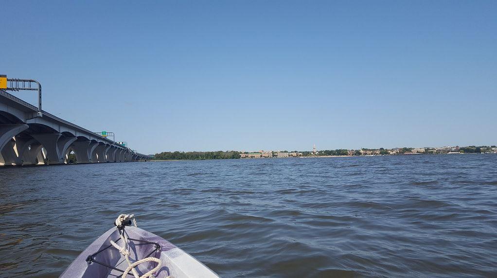 Kayaking in the Potomac River near the Wilson Bridge.